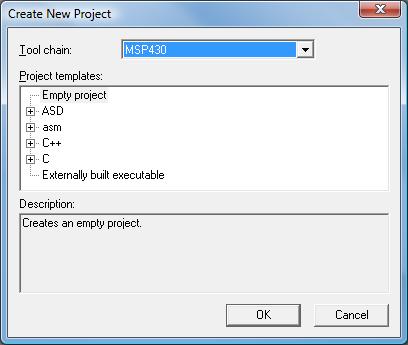 IAR New Project Screen