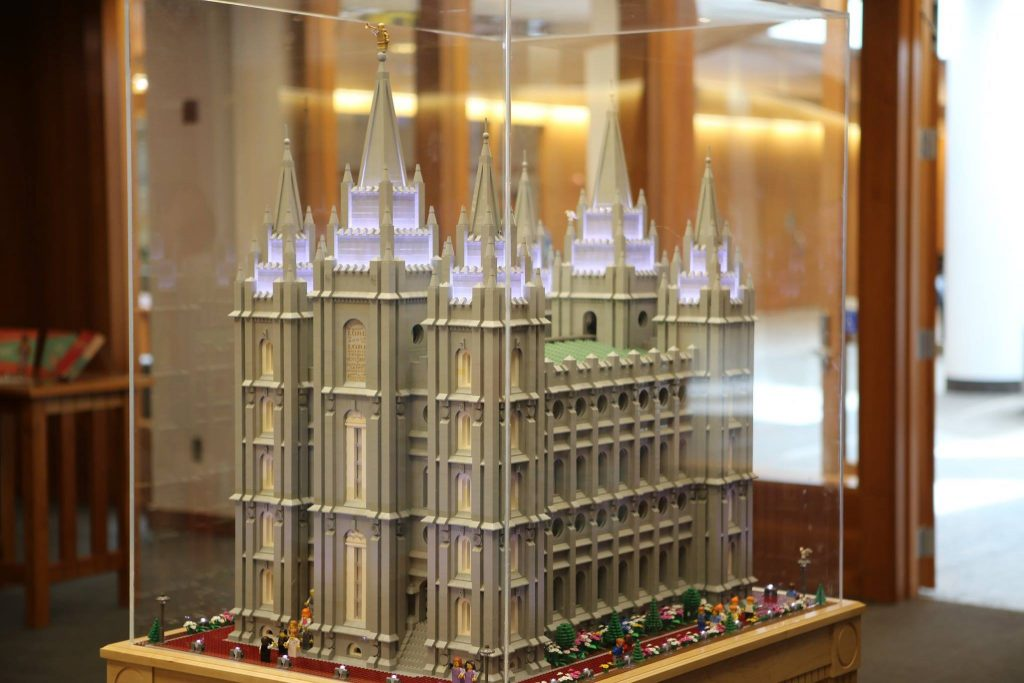 LEGO Salt Lake City temple on display at the Harold B. Lee Library at BYU.
